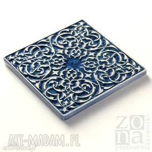 ceramika dekory kafle szaroniebieskie arabeski