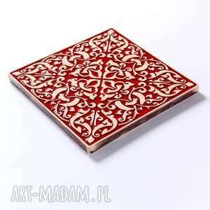 pracowniazona ceramika: kafle XL adagio, czerwone - ornament
