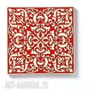pracowniazona ceramika: kafle XL adagio, czerwone - ornament dekory