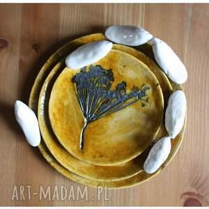 gustowne ceramika ptak komplet miodowych talerzyków
