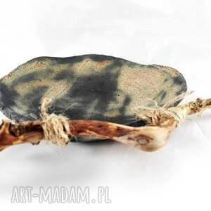 miska ceramika turkusowe komplet miseczek z drewnem