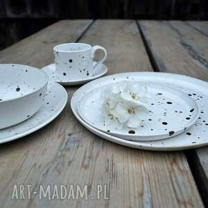 handmade ceramika komplet naczyń nakrapianych