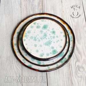handmade ceramika serwis komplet talerzy, deserowy.
