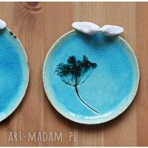 ceramika: Komplet turkusowych talerzyków