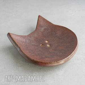 efektowne ceramika mydelniczka kot