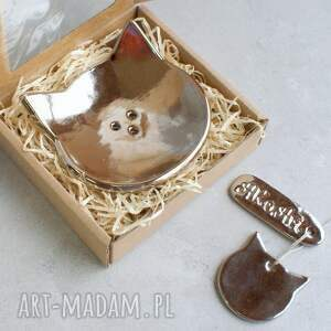 handmade ceramika mydelniczka kot