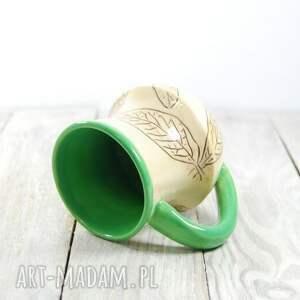 walentynki ceramika zielone kubek ceramiczny sgraffito