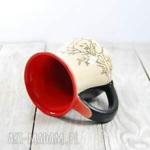 ręcznie robione ceramika do-kawy kubek ceramiczny sgraffito kot na