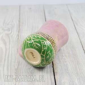 do-kawy ceramika różowe kubek ceramiczny sgraffito