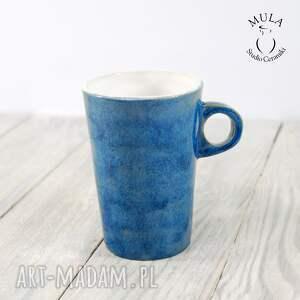 niebieskie ceramika kubek niebiesko -biały