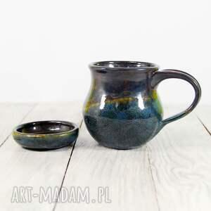 hand made ceramika do-herbaty kubek z podstawkiem akwamaryn