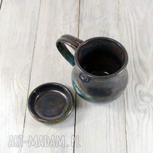 ceramika do-kawy kubek z podstawkiem akwamaryn