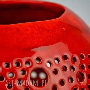 ażur ceramika lampion ball czerwony