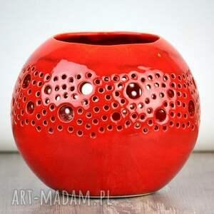 gustowne ceramika ażur lampion ball czerwony