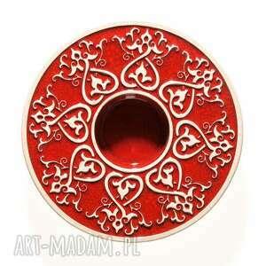 handmade ceramika lampion od serca czerwony