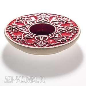 ceramika świecznik lampion od serca czerwony