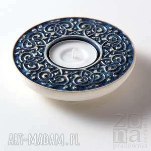 ceramika świecznik lampiony barokowe szaroniebieskie