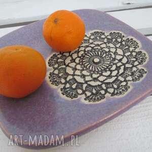 beżowe ceramika koronkowy lawendowy talerzyk z koronką