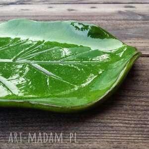 nietuzinkowe ceramika liść - patera mała zielona
