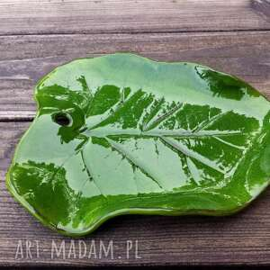 ceramika leaf liść - patera mała zielona