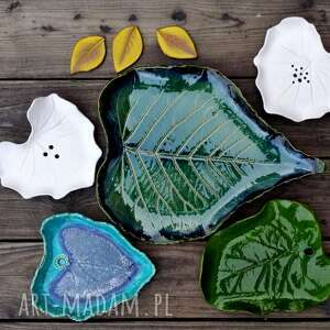 leaf ceramika liść - patera mała zielona