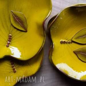 żółte ceramika talerz liść - i misa kolor yellow