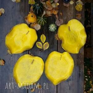 hand made ceramika patera liść - talerz i misa kolor yellow