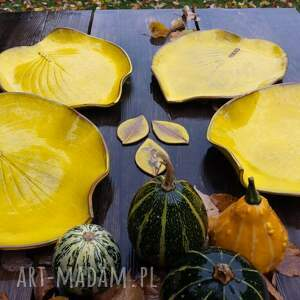 patera ceramika liść - talerz i misa kolor yellow