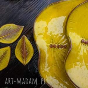 hand made ceramika talerz liść - i misa kolor yellow