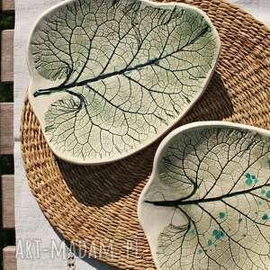 urokliwe ceramika liście łopianu talerze