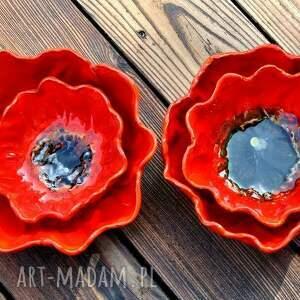 pomarańczowe kwiat maki zestaw 2 ceramicznych mis