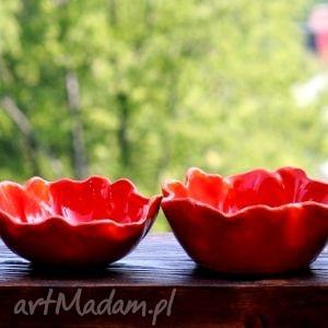 mak ceramika czerwone maki zestaw 2 ceramicznych mis