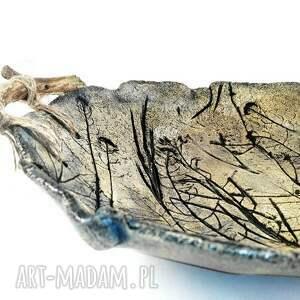 czarne ceramika misa ceramiczna z drewnianymi