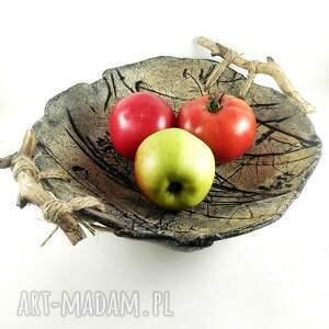 prezent misa ceramiczna z drewnianymi