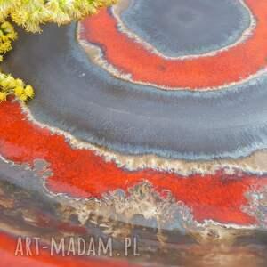 prezent upominek ceramika misa czerwone kręgi