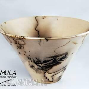 ceramika-artystyczna ceramika misa horse hair raku