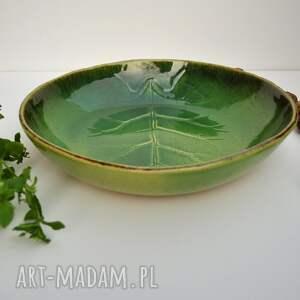 frapujące ceramika misa ze strukturą żywego liścia ręcznie