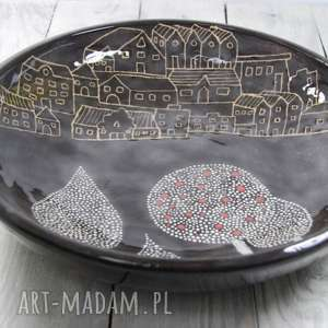 białe ceramika na owoce duża misa ceramiczna wytoczona ręcznie na kole