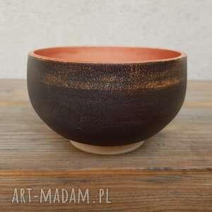 trendy ceramika misa miseczka brązowo czerwona