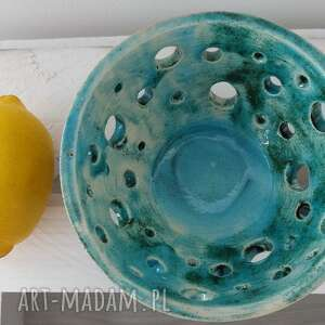 gustowne ceramika miseczka turkus z dziurkami