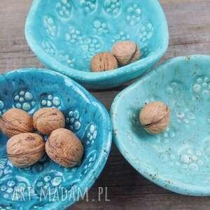 turkusowe ceramika miseczki 3, mięta, zieleń morska