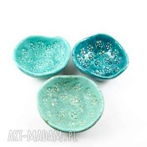 miska ceramika miseczki 3, mięta, zieleń morska