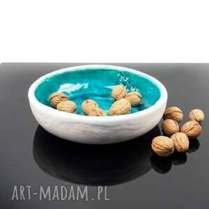 niebanalne ceramika miska minimal turkus płaska