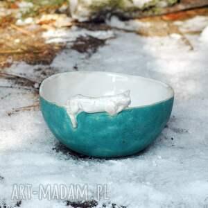turkusowe ceramika miska salaterka z figurką kota