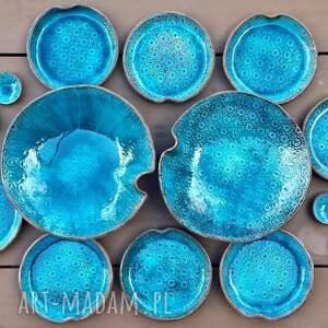 naczynia ceramika turkusowe ocean zestaw naczyń ceramicznych