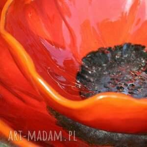 ręczne wykonanie ognisty mak - ceramiczna misa