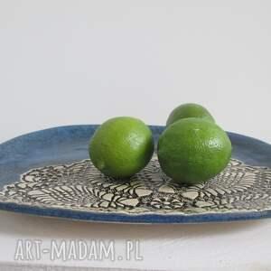 hand made ceramika talerz owalna patera z koronką