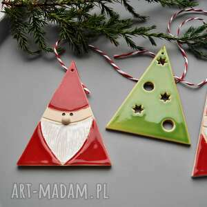 upominek świąteczny ceramika ozdoby choinkowe - zestaw ozdób