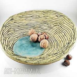 turkusowe ceramika dekoracja patera ceramiczna -