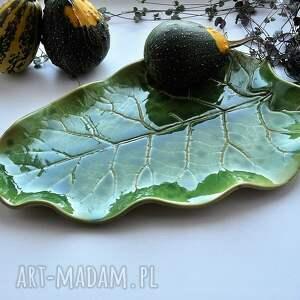 ręcznie robione ceramika patera talerz dekoracyjny - liść